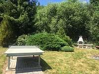 venkovní krb a pingpongový stůl