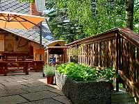 terasa se slunečníkem - chalupa ubytování Kamenná Lhota