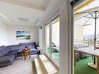 Apartmán Zelená terasa - obývák a terasou - k pronajmutí Frymburk