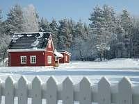 Ubytování U Faflíka, Třeboňsko, Vlkov nad Lužnicí, zima od silnice -