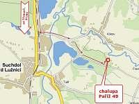 mapka příjezdu na chalupu - k pronajmutí Tušť - Paříž