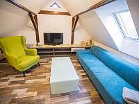 Obývací pokoj s televizí - pronájem apartmánu Stráž nad Nežárkou - Dvorce