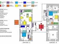 detailní rozmístění objektů a vybavení - Třeboň - Stará Hlína