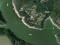 Letecká mapa - Červená II. (poloha chaty) - Květov - Vůsí