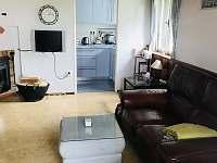 Kožený gauč v obýváku - chata k pronajmutí Dehtáře