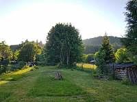 Pohled na zahradu a Kraví horu s rozhlednou - chalupa k pronájmu Horní Stropnice - Hojná Voda