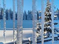 """ubytování""""Na Churáňově"""", zimní výhled z pokoje - chalupa k pronajmutí Stachy - Churáňov"""