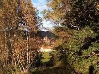 Pohled na Chvalšiny z lesa - pronájem apartmánu
