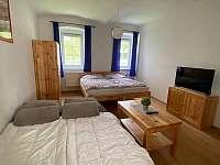 Obývací pokoj s rozkládacím gaučem - apartmán k pronájmu Hůrka