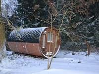 sauna v zimě - srub ubytování Višňová