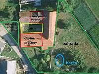 Plán rozmístění prostor - rekreační dům k pronájmu Hoštice u Volyně