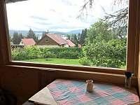 Pohled z jídelny - chata ubytování Lipno nad Vltavou - Kobylnice
