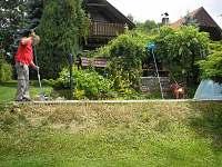 Pohled na chatu a zarostlou pergolu,manžel čistí bazen
