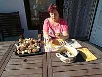 posezení u apartmánu-majitelka čistí houby