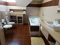 Koupelna apartmá 1(sprcha i vana) - pronájem chalupy Sedlo u Číměře