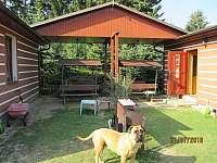 Posezení mezi chatami a náš pes - Zběšice