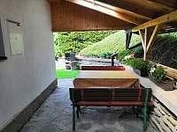 Zadní zastřešená terasa se sezením a grilem - chata k pronajmutí Lipno nad Vltavou - Slupečná