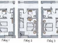 přehled pokojů v přízemí - Velké Nepodřice