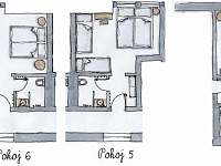 přehled pokojů v prvním patře - Velké Nepodřice