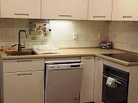 komfortní kuchyň, velká indukční varná deska, trouba i s vařením v páře, myčka - chata k pronájmu Landštejn