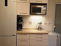 velká lednička a mrazak, mikrovlny s grilem a horkovzdušnou troubou, kávovar - chata k pronajmutí Landštejn