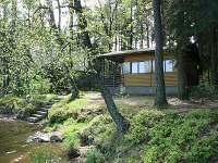Chata se nachází přímo na břehu rybníka