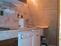 kuchyň, sklokeramická varná deska, trouba s grilem, myčka, lednička, mikrovlny - chata ubytování Landštejn