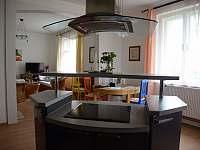 Pohled přes varný ostrůvek do obývacího pokoje - vila k pronájmu Popelín