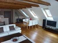Obývací místnost - chalupa k pronájmu Lhenice