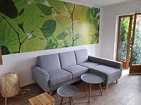 Obývací pokoj a vchod na terasu - pronájem chalupy Jenišov