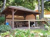 posezení pod přístřeškem - chata ubytování Kunžak