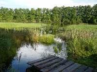 Molo na přilehlém 4 ha rybníku, odsud lze jezdit  pramicí
