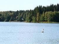 rybník Komorník, pohled z chaty na druhý břeh