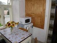 Kuchyně s lednicí a mikrovlnnou troubou