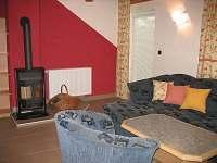 Obývák s krbem a východem na terasu - apartmán ubytování Frymburk