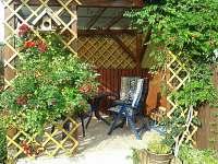 posezení na kryté pergole - rekreační dům k pronájmu Kardašova Řečice