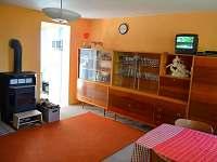 obývací pokoj s pohledem na krbová kamna
