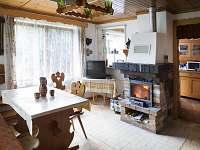 Obývací pokoj s krbem - chata ubytování Mladošovice - Lhota