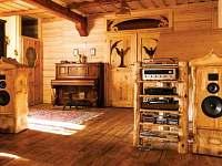 Žabovřeský Mlýn - piano a HiFi ve společenském sále přízemního apartmánu - pronájem chalupy