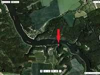 satelitní zobrazení polohy rybářské chaty na Orlíku - ubytování Chřešťovice