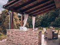 Chaty na rybníku Slávek,venkovní terasa - k pronájmu Lžín