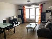 Obývací část s televizi a rozkládací sedacka - apartmán ubytování Lipno nad Vltavou