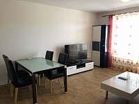 Stůl a televize - apartmán k pronájmu Lipno nad Vltavou