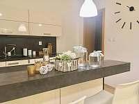 Plně vybavená rohová kuchyň - kávovar, indukce, trouba, parní konvektomat, myčka - rekreační dům k pronájmu Třeboň