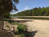 Částečně vypuštěný rybník v období březen - duben - Kunějov