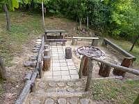 sestup - barbecue koutek (volné ohniště, posezení) - pronájem chaty Těšetice u Znojma