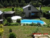 Pohled na chatu s bazénem ze stráně