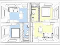 Domek v Podyjí, dispozice apartmánů - k pronajmutí Lukov u Znojma