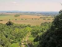 Výhled z horní terasy na Karpaty na obzoru a příjezdovou cestu posypanou oblázky