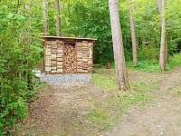 Dřevník a parkovací místa - pronájem chaty Lančov